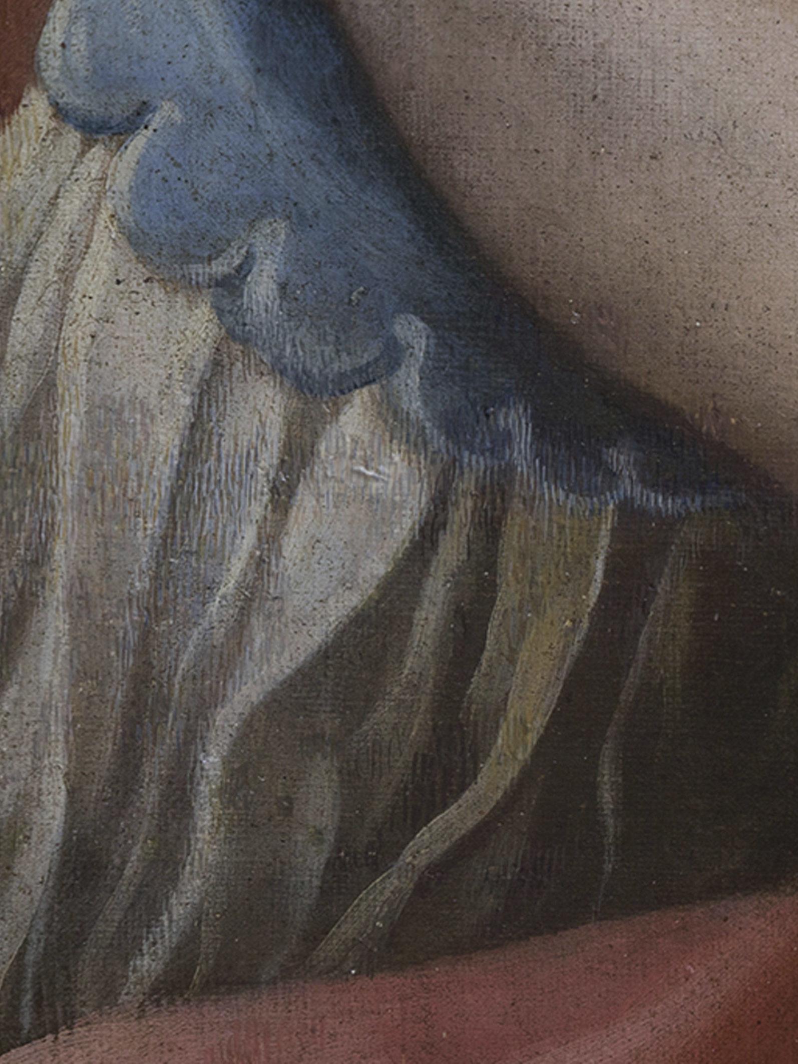 restauro olio su tela madonna col bambino dettaglio