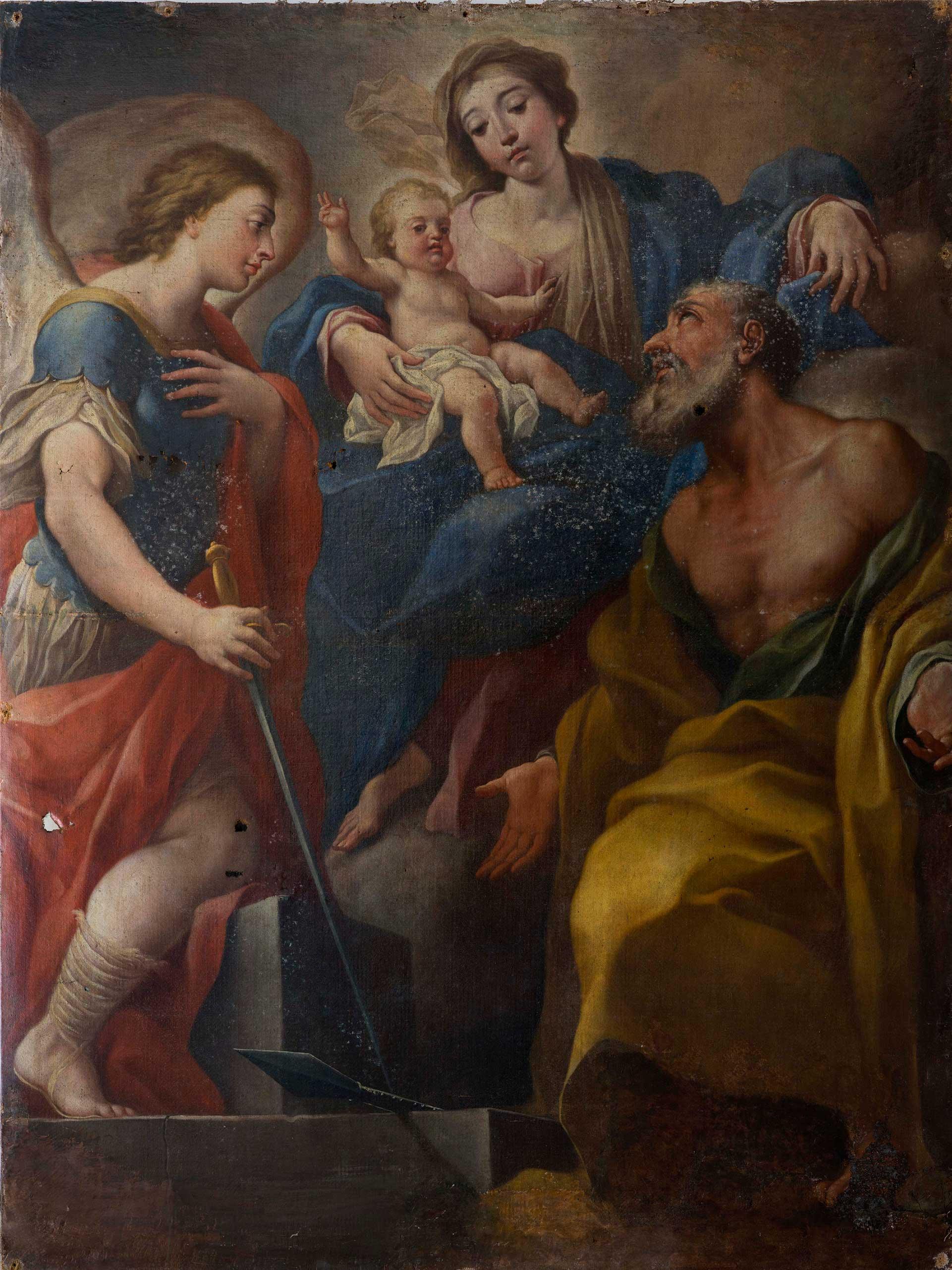 restauro olio su tela madonna col bambino prima